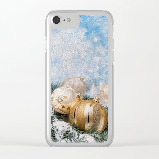 Gold Blue Ornaments Clear iPhone Case