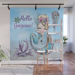 Glamorous Mermaid with Jellyfish, Shell, and Starfish. Wall Mural