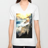 mountains V-neck T-shirts featuring Sunrise mountains by 2sweet4words Designs
