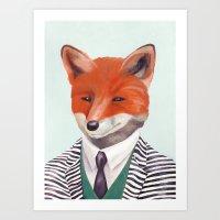 mr fox Art Prints featuring Mr. Fox by Animal Crew