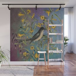 Flycatcher with Carolina Jasmine, Vintage Natural History and Botanical Wall Mural