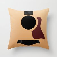 guitar Throw Pillows featuring Guitar by rob art | illustration