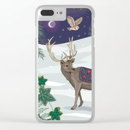 Folk Deer and Owl Clear iPhone Case