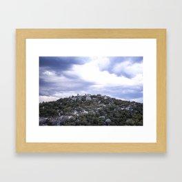 Storm Threatened Mountain Framed Art Print