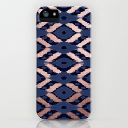 Bohemian Rose Gold Navy Blue Ikat Pattern This modern and chic bohemian pattern is perfect for a cla iPhone Case