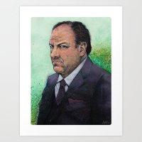 sopranos Art Prints featuring TONY  by Jef2D