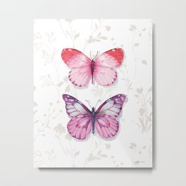 Obviously Pink Butterflies Metal Print