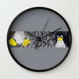 Penguin Linux Tux art graphic  Wall Clock