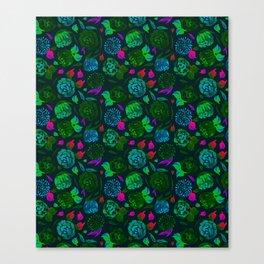Watercolor Floral Garden in Electric Black Velvet Canvas Print