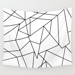 Simple Modern Black and White Geometric Pattern Wall Tapestry