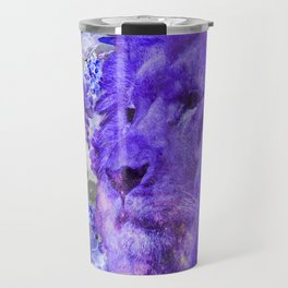 LION AND ORCHIDS  PURPLE AND BLUE FANTASY DREAM Travel Mug