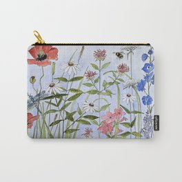 Wildflower Botanical Garden Flower Blue Skies Watercolor Carry-All Pouch