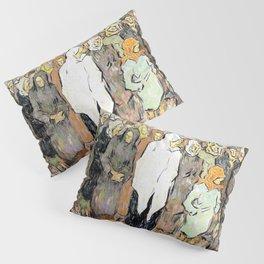 Nicolae Tonitza - Queuing for bread - Digital Remastered Edition Pillow Sham