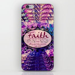 FAITH Colorful Purple Christian Luke Bible Verse Inspiration Believe Floral Modern Typography Art iPhone Skin