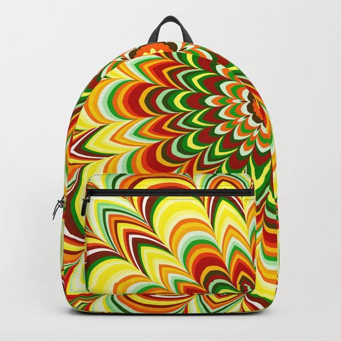 Colorful flower striped mandala Backpack