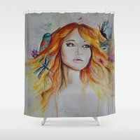 jennifer lawrence Shower Curtains featuring Jennifer Lawrence Watercolor (Light) by Halinka H