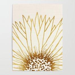 Gold Sunflower II - Wide Pastel Metallic Palette Poster