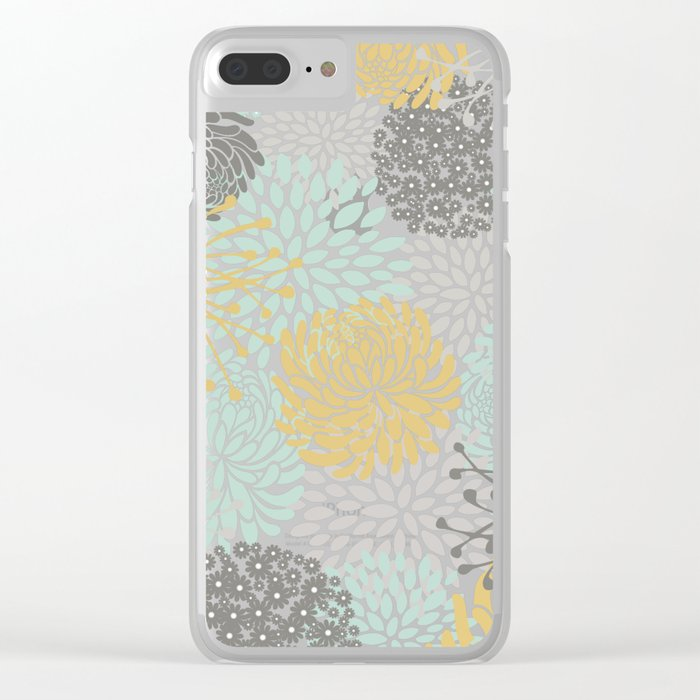 Floral Abstract Print, Yellow, Gray, Aqua Clear iPhone Case