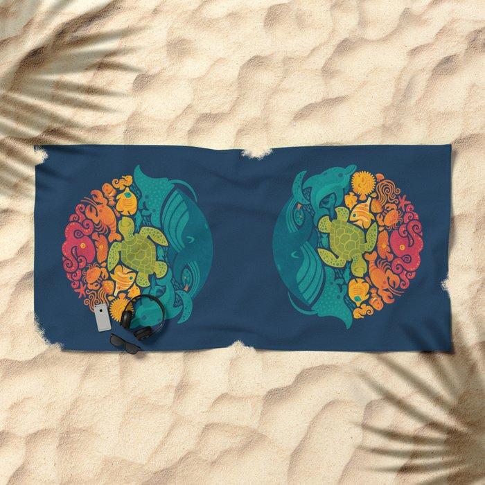 Aquatic Rainbow Beach Towel