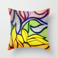 waves Throw Pillows featuring Waves by Aaron Carberry