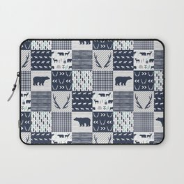 Camper antlers bears pattern minimal nursery basic navy mint grey white camping cabin chalet decor Laptop Sleeve