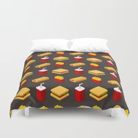 junk food Duvet Covers featuring Isometric junk food pattern by Irmirx
