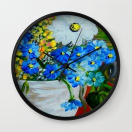 Flowers in a White Vase Wall Clock