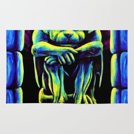 Gothic Gargoyle, Trippy Psychedelic by Vincent Monaco Rug