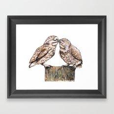 Owls kiss Framed Art Print