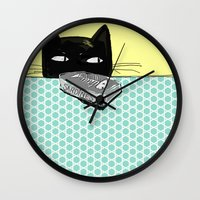 kitty Wall Clocks featuring Kitty  by Mary Kilbreath