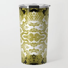 Snake skin scales texture. Seamless pattern black yellow gold white background. simple ornament Travel Mug