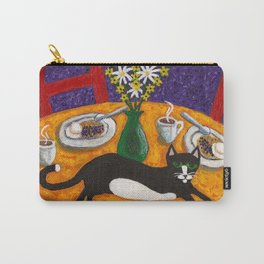 Tuxedo Cat and Coffee on a Colorful Table Carry-All Pouch