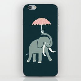 Elephant with umbrella iPhone Skin