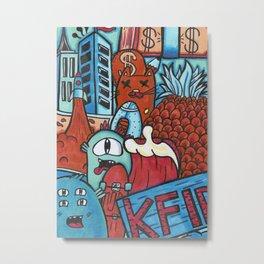 Red Teal Cat Pineapple Art Print Metal Print