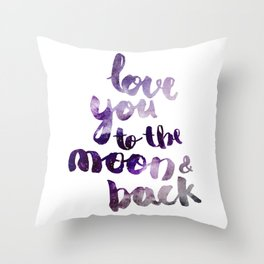 """PERIWINKLE """"LOVE YOU TO THE MOON AND BACK"""" QUOTE Throw Pillow"""