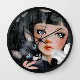 Sphynx Among Orchids Wall Clock