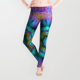 Romantic kaleidoscope with roses and patterns Leggings