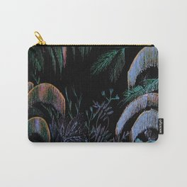 art deco midnight tropical oasis botanical palm tree print Carry-All Pouch
