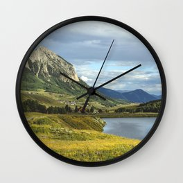 View of Meridian Lake and Mount Crested Butte above the Colorado city of Crested Butte on the high d Wall Clock