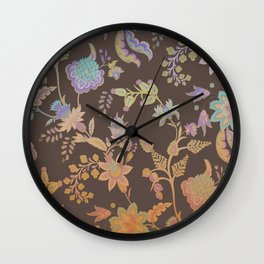 Chateau Brown Chinoiserie Decorative Floral Motif Chintz Wall Clock