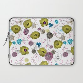 Snow large floral on white Laptop Sleeve