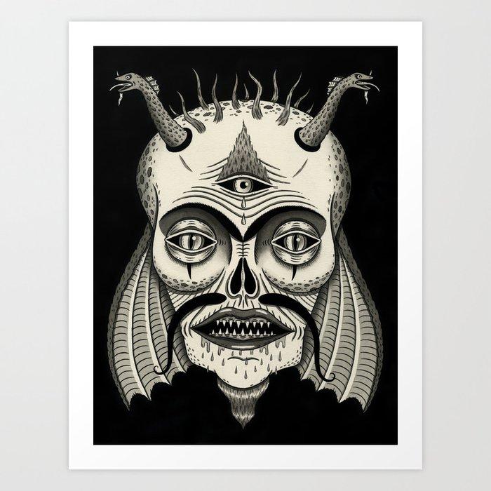 Three-Eyed Skull with Unibrow Art Print