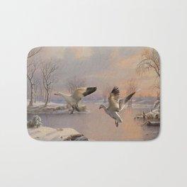 Snow Geese Landing Bath Mat