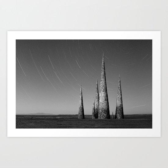Grey black cones 4 Art Print