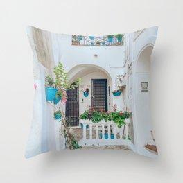 Italian Beach Town Street Throw Pillow