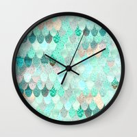 mermaid Wall Clocks featuring SUMMER MERMAID by Monika Strigel