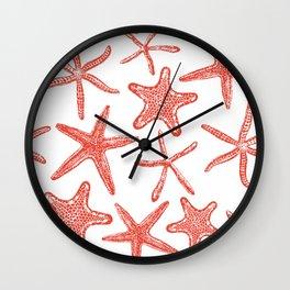 Sea stars hand drawn pattern in red Wall Clock
