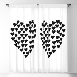 Hearts Heart Black and White Blackout Curtain