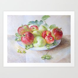 still life with apples, original oil painting Art Print