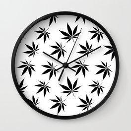 Marijuana leaves print Wall Clock